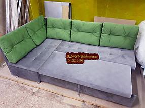 Кухонный уголок со спальным местом Прометей с пуговицами серый, фото 3