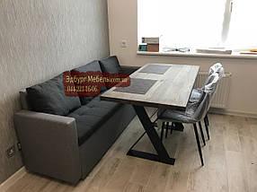 Диван для узкой кухни с подлокотниками + пуф, фото 2