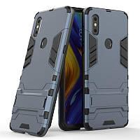 Чехол Hybrid case для Xiaomi Mi Mix 3 бампер с подставкой темно-синий