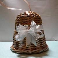 Дзвіночок золото Новорічна ялинкова прикраса з білою стрічкою 11х12, фото 1