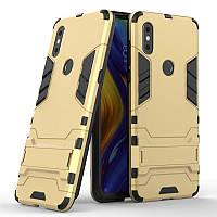 Чехол Hybrid case для Xiaomi Mi Mix 3 бампер с подставкой золотой