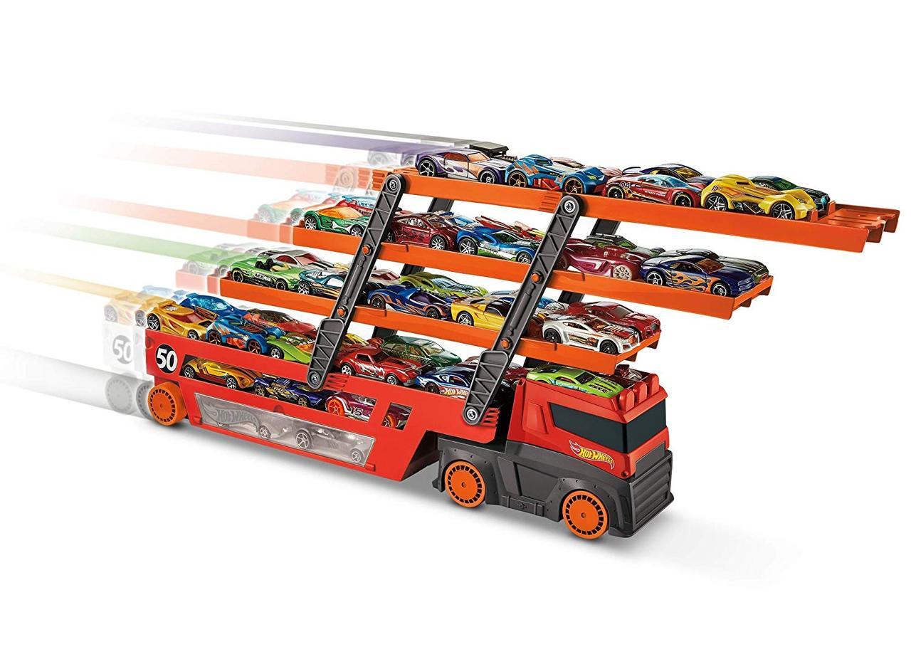 Автовоз Хот Вилс Грузовик-трейлер на 50 машин Hot Wheels Mega Hauler