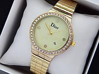 Женские наручные часы Dior с золотого цвета, с камушками, отображение даты, код 1477, фото 1