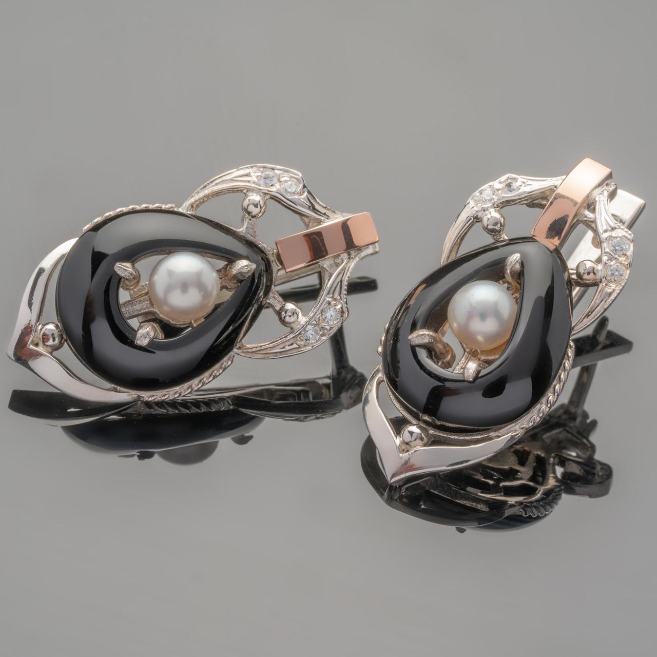 Серьги серебряные 925 пробы с золотыми вставками арт. 309с