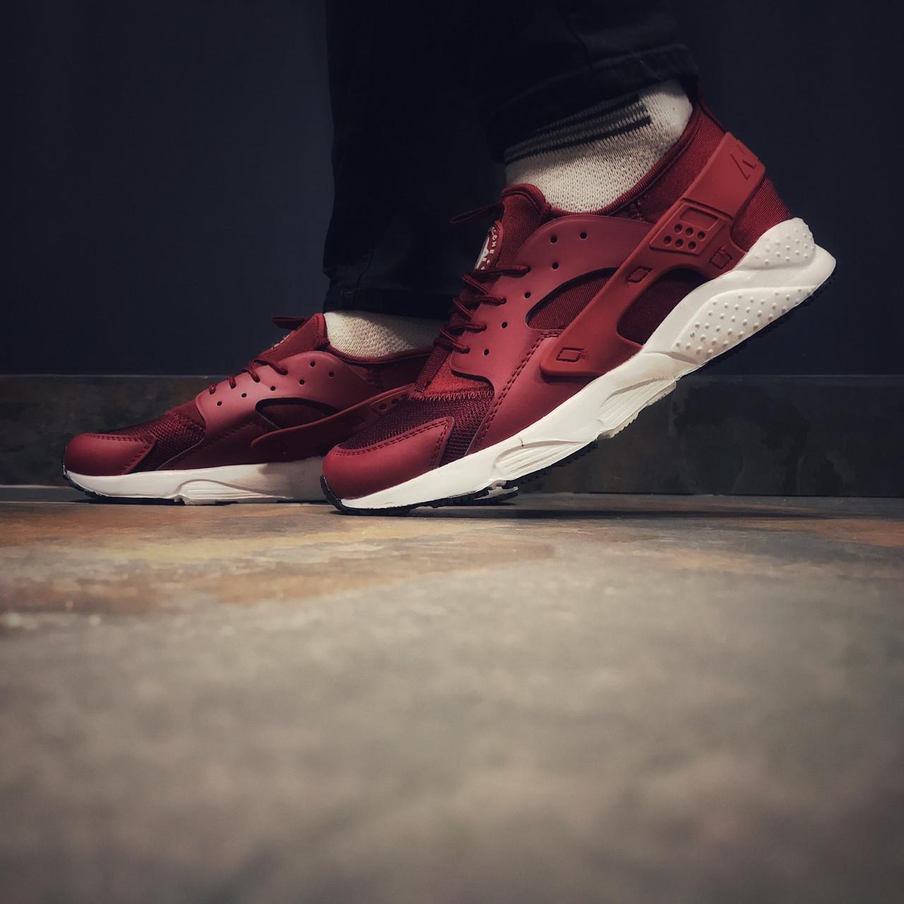 Кроссовки мужские в стиле Nike Huarache бордовые