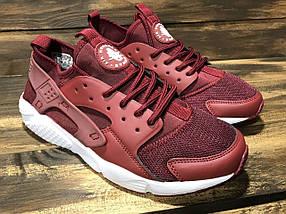 Кроссовки мужские в стиле Nike Huarache бордовые, фото 3