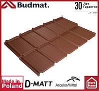 Металлочерепица модульная Budmat Murano D-Matt (Arcelor Mitall -Германия) 1196x725 коричневого цвета.
