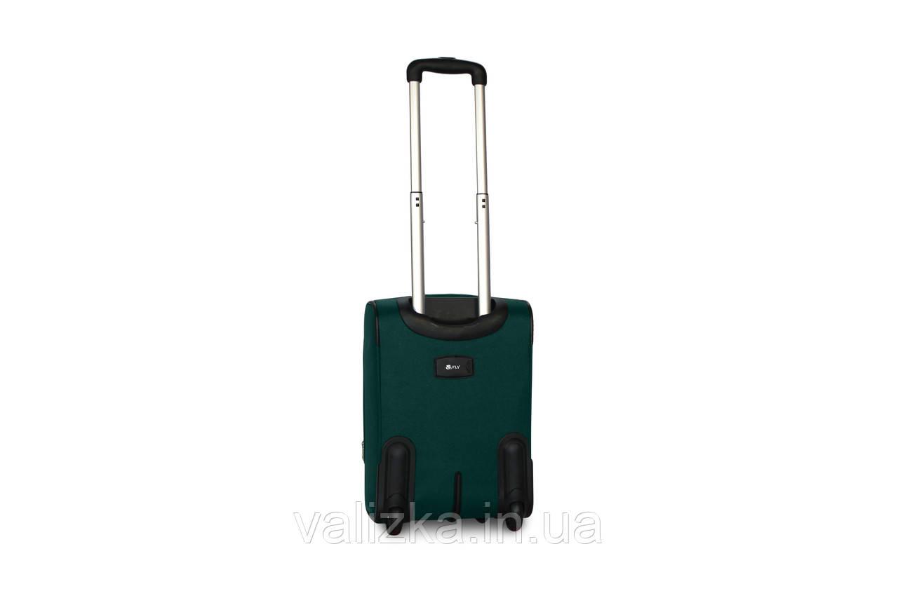 Малый текстильный чемодан для ручной клади на 2-х колесах  Fly - S зеленый