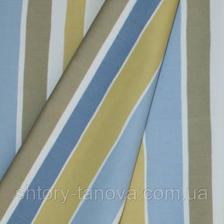 Декор сатен полоса кузко голубой/горчичный