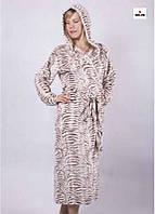 Женский халат длинный махровый на запах с капюшоном р.42-56