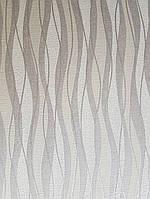 Виниловые обои  GranDeco FUSION A24003 волны серые коричневые бежевые серебристые