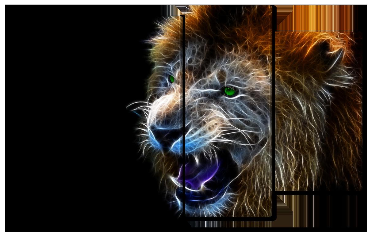 Модульная картина Interno Холст Оскал льва 166x120см (R1677XXL)
