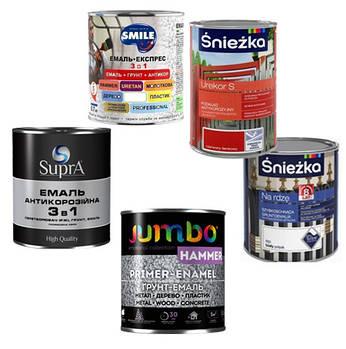 Антикорозійні, молотокові, експрес, 3 в 1, емалі та грунти для металу
