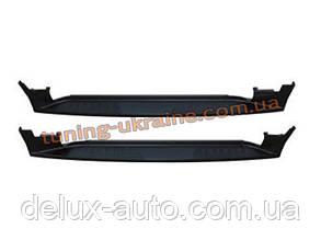 Пороги боковые оригинал Black на Hyundai Santa Fe 2006-13