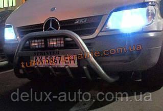 Защита переднего бампера кенгурятник крашенный низкий с надписью  D60 на Mercedes Sprinter 1996-2006