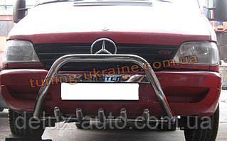 Защита переднего бампера кенгурятник с надписью D60 на Mercedes Sprinter 1996-2006