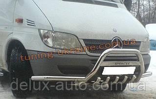 Защита переднего бампера кенгурятник с надписью и с усами D60 на Mercedes Sprinter 1996-2006