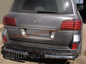 Защита заднего бампера уголки одинарные D60 на Lexus LX-570