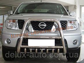 Защита переднего бампера кенгурятник высокий D70 на Nissan Navara 2005-2009