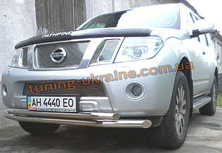 Защита переднего бампера труба двойная D60-42 на Nissan Pathfinder 2010-2014