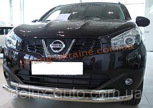Защита переднего бампера труба двойная D60-42 на Nissan Qashkai 2015+