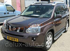 Боковые пороги  площадка c листом (нержавеющем) D60 на Nissan X-Trail (31) 2007-2010