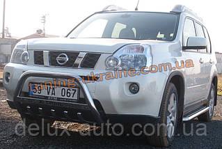 Защита переднего бампера кенгурятник низкий с надписью D60 на Nissan X-Trail (31) 2007-2010