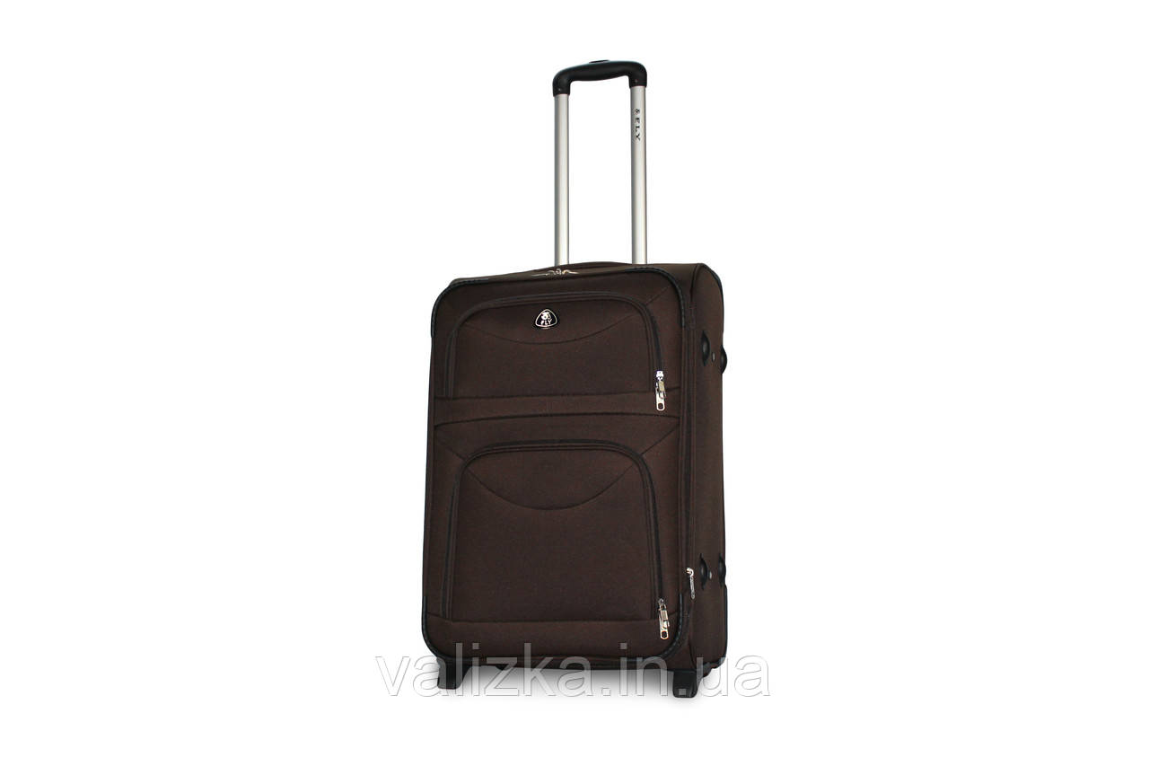 Средний текстильный чемодан на 2-х колесах с расширителем  Fly коричневый