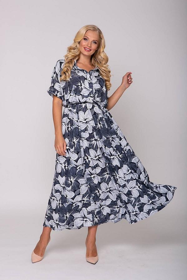Длинное платье с крупным цветочным принтом Кармен синее (54-60)