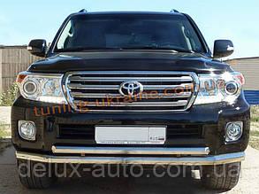 Защита переднего бампера труба двойная D60-42 на Toyota Land Cruiser 200 2012