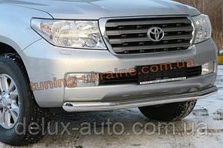 Защита переднего бампера труба одинарная D60 на Toyota Land Cruiser 200 2012