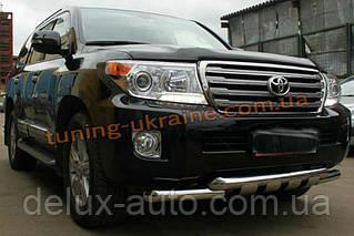 Защита переднего бампера Ус с клыками D76 на Toyota Land Cruiser 200 2012