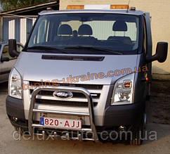 Защита переднего бампера кенгурятник высокий без надписи (нерж.) D60 на  Ford Transit