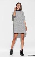 Платье мини из плотной костюмной ткани цвет темно-синий