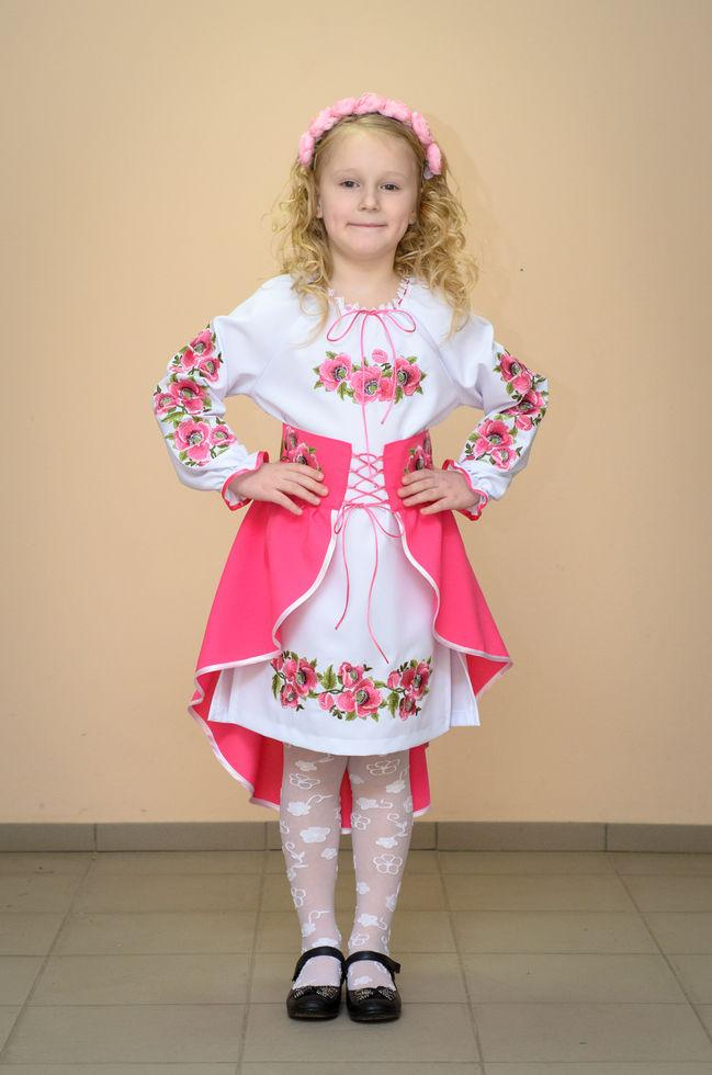 Костюм вышитый Волинські візерунки для  девочки Мальвы розовые 110 см