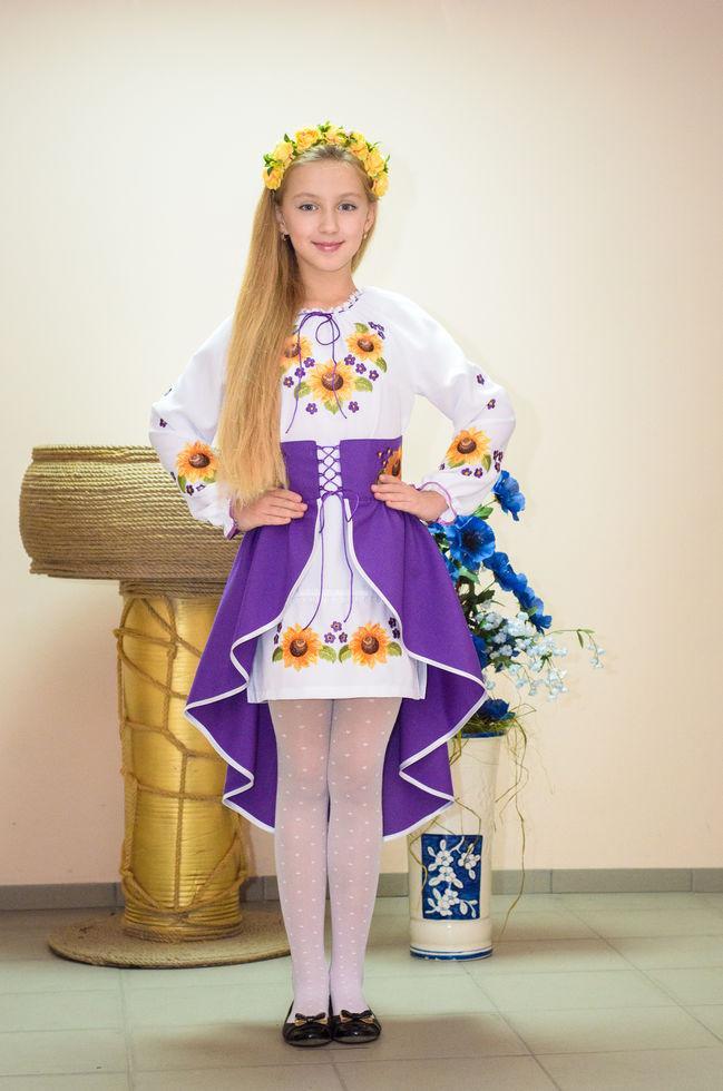 Костюм вишитий Волинські візерунки для дівчинки Соняшник фіолетовий 128 см