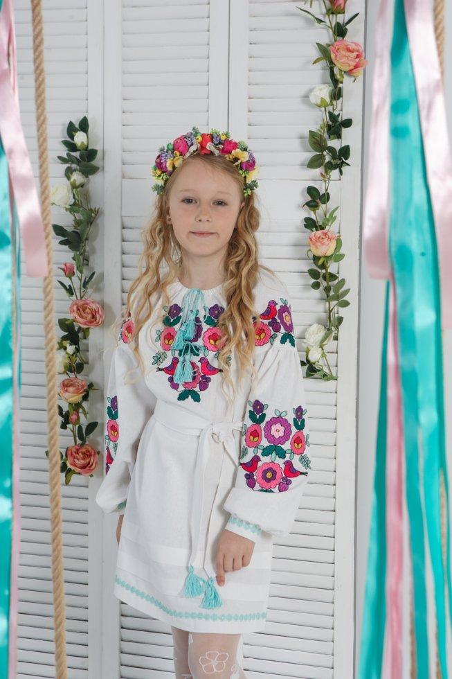 Платье Волинські візерункі  для девочки с яркой вышивкой 134 см белое