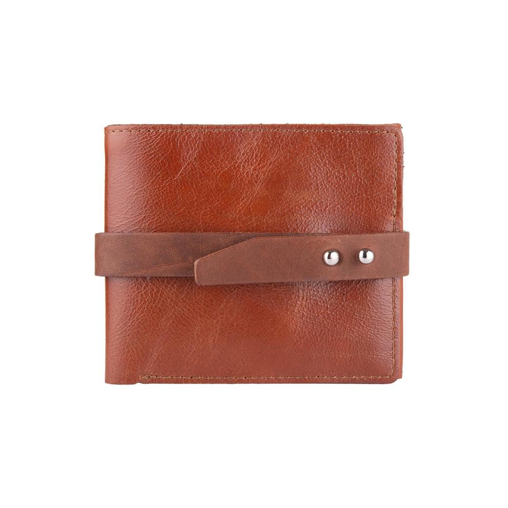 Удобный маленький бумажник на кобурном винте с натуральной кожи янтарного цвета