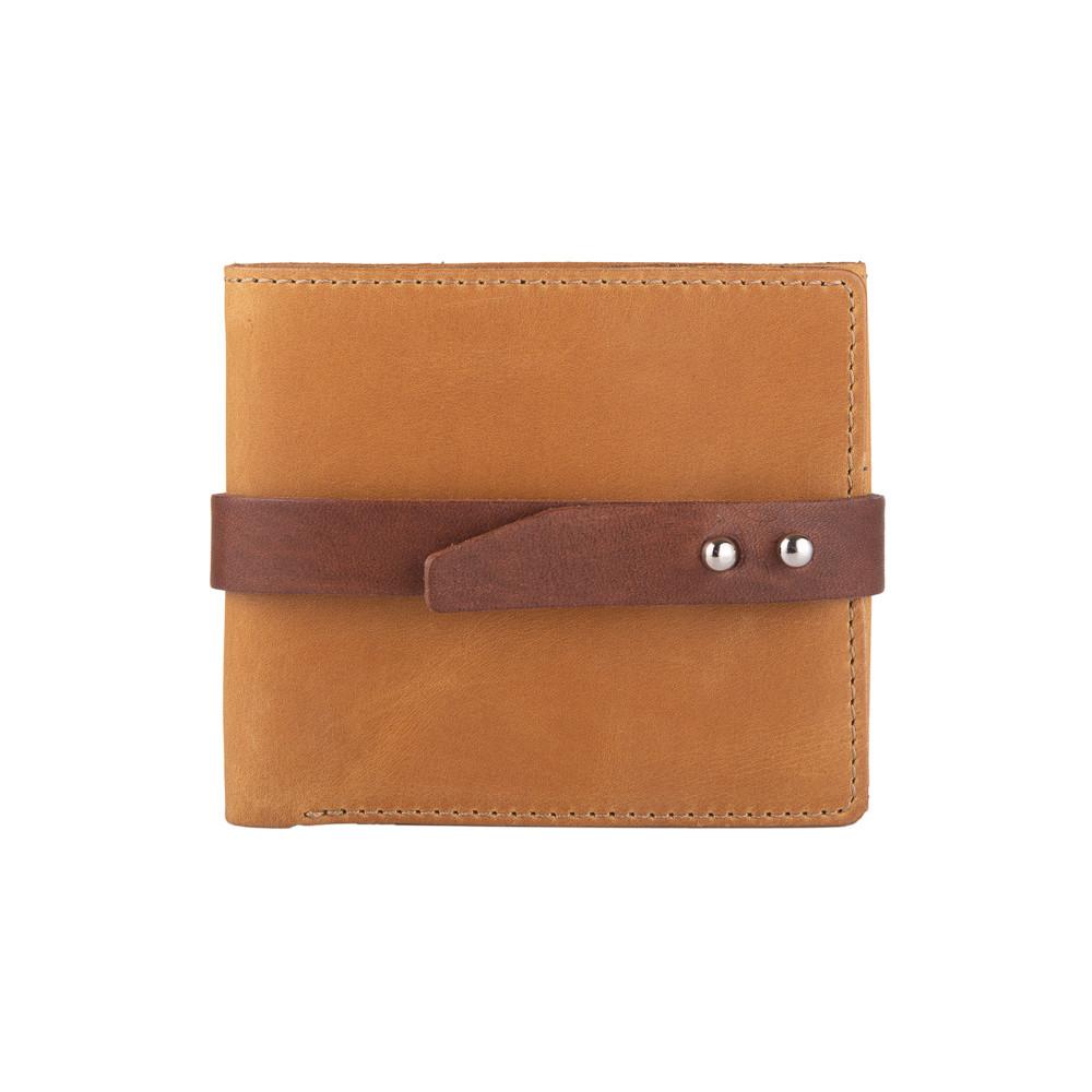 Удобный маленький бумажник на кобурном винте с натуральной кожи рыжего цвета