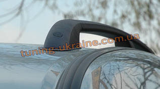Рейлинги на крышу (черные -  Black) алюминиевые концевики ABS  на Renault  Kangoo 2008