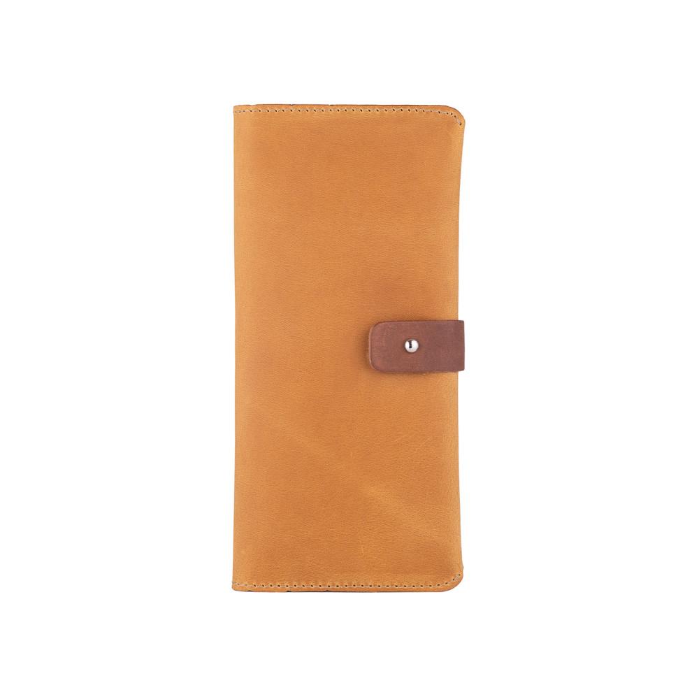 Оригинальный бумажник на кобурном винте, с натуральной кожи светло желтого цвета