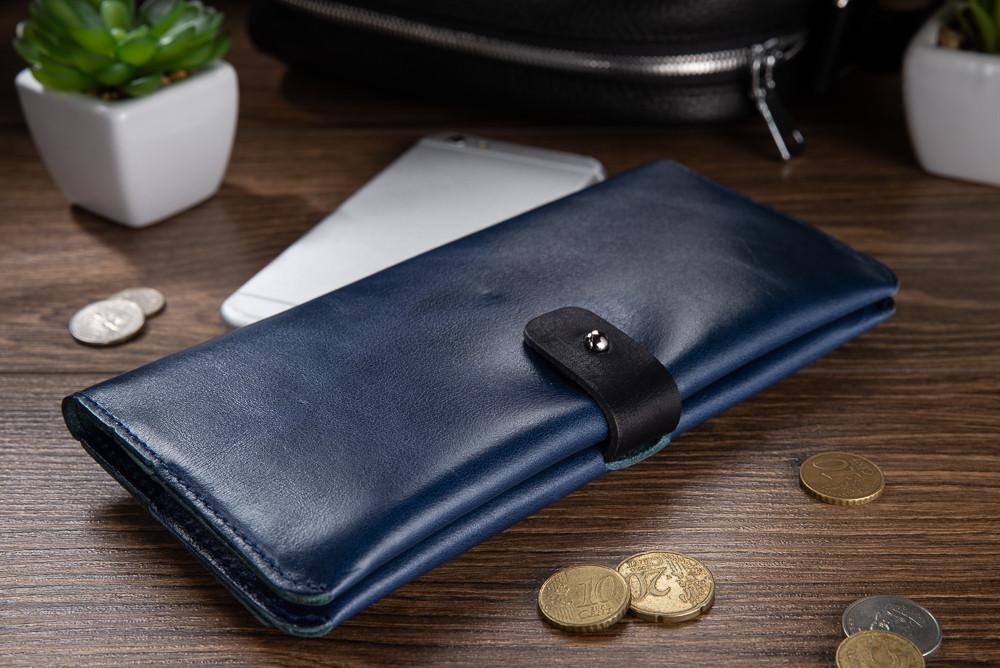 Оригинальный бумажник на кобурном винте, с натуральной кожи голубого цвета