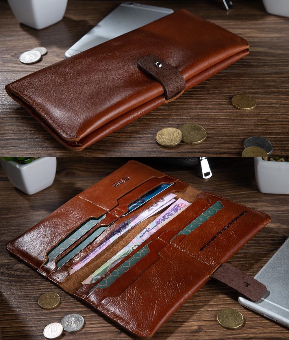 Оригинальный бумажник на кобурном винте, с натуральной кожи янтарного цвета