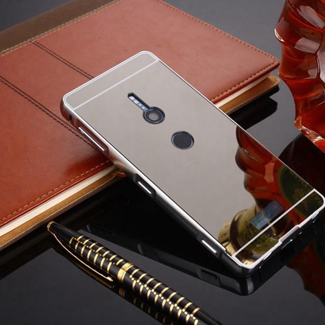 Металлический бампер с акриловой вставкой с зеркальным покрытием для Sony Xperia XZ2