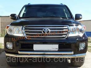 Защита переднего бампера труба двойная D60-42 на Toyota Land Cruiser Prado 150 2009
