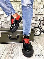 Женские кожаные кеды в стиле Ch@nel черные с красным