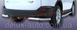 Защита заднего бампера уголки одинарные D60 на Toyota RAV 4 2013