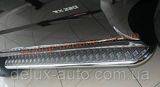 Боковые пороги  труба c листом (алюминиевым) D42 на Toyota Highlander 2010-2014