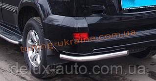 Защита заднего бампера уголки одинарные D60 на Toyota Highlander 2010-2014