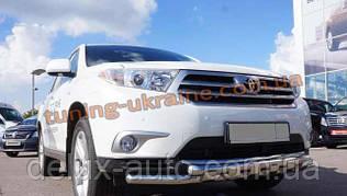 Защита переднего бампера Ус с клыками D76 на Toyota Highlander 2010-2014